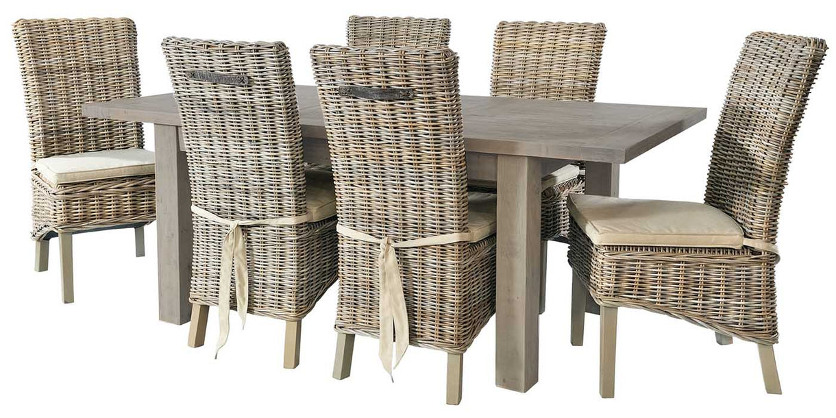 Grey Wash Rattan Dining Chairs with Cream Cushions