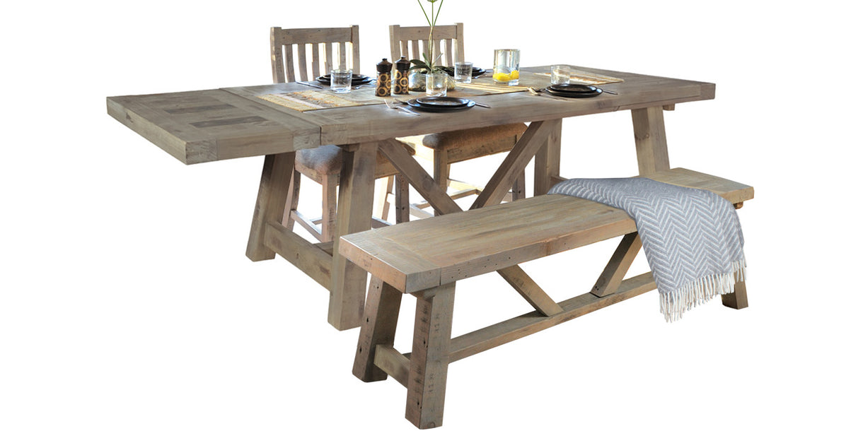 Large Farringdon Reclaimed Wood Trestle Table Dining Set