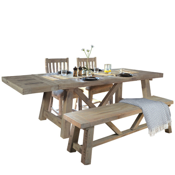 Farringdon Reclaimed Wood Extendable Dining Table with Bench
