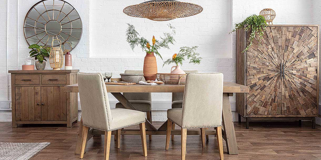 Farringdon reclaimed wood trestle dining table and fabric chairs