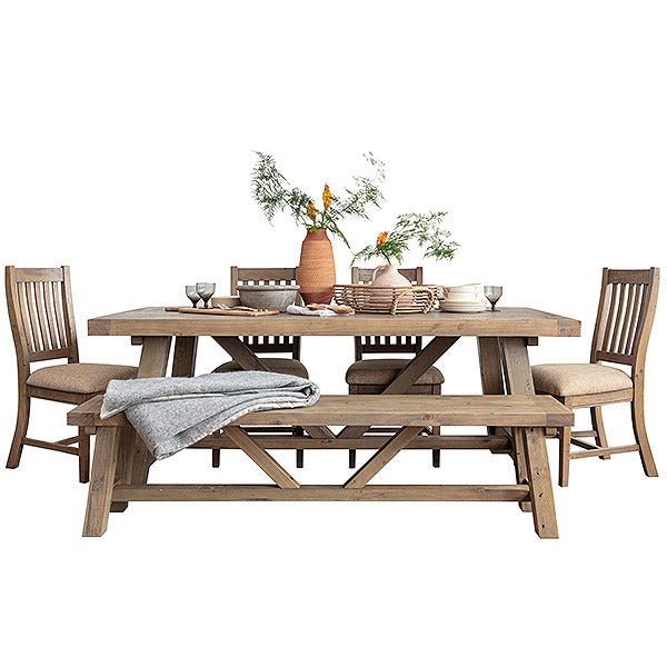 Farringdon reclaimed wood trestle dining set
