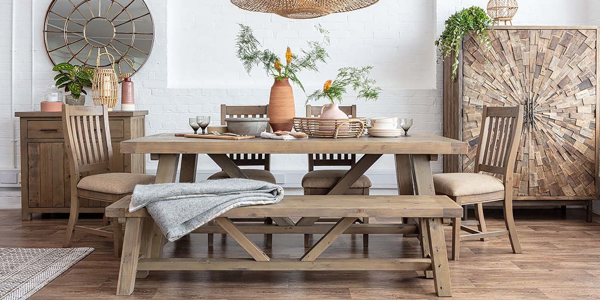 Farringdon Reclaimed Wood Extendable Trestle Table and chairs