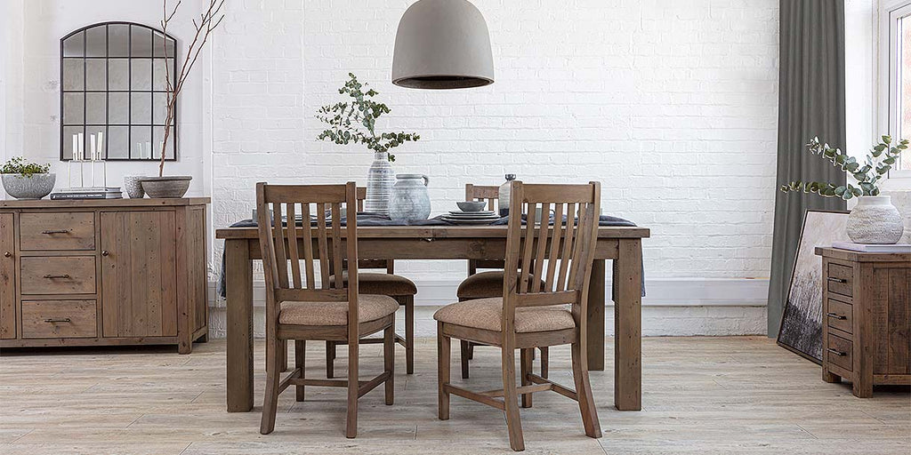 Farringdon reclaimed wood extendable table and wooden chairs