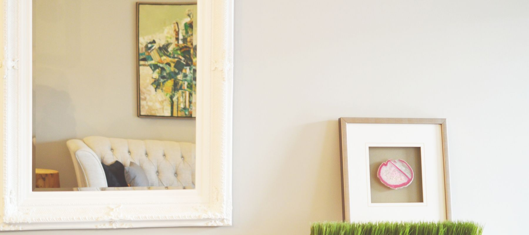 White framed wall mirror
