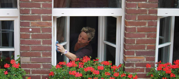 Woman cleaning windows with red window box flowers