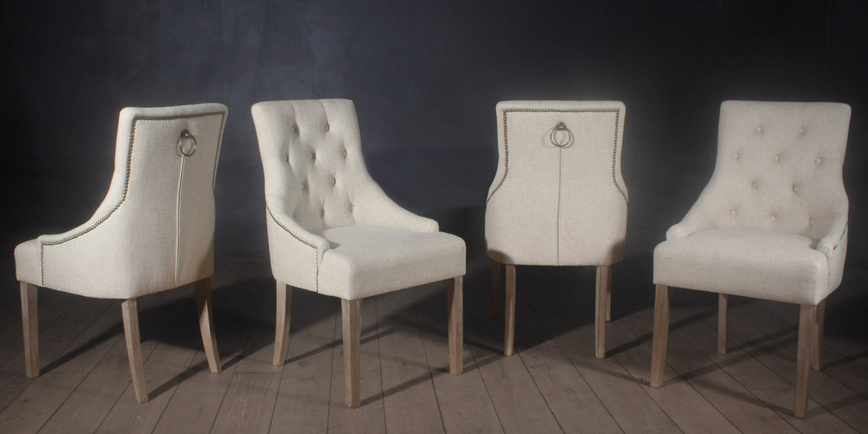 Beau Florence Dining Chairs In Cream Fabric