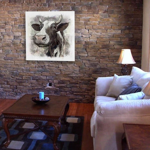 Contemporary modern art canvas painting cow portrait