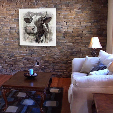 Black and White Cow Canvas Art