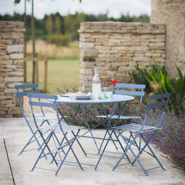 Garden Bistro Set Table and four Chairs in Sky Blue