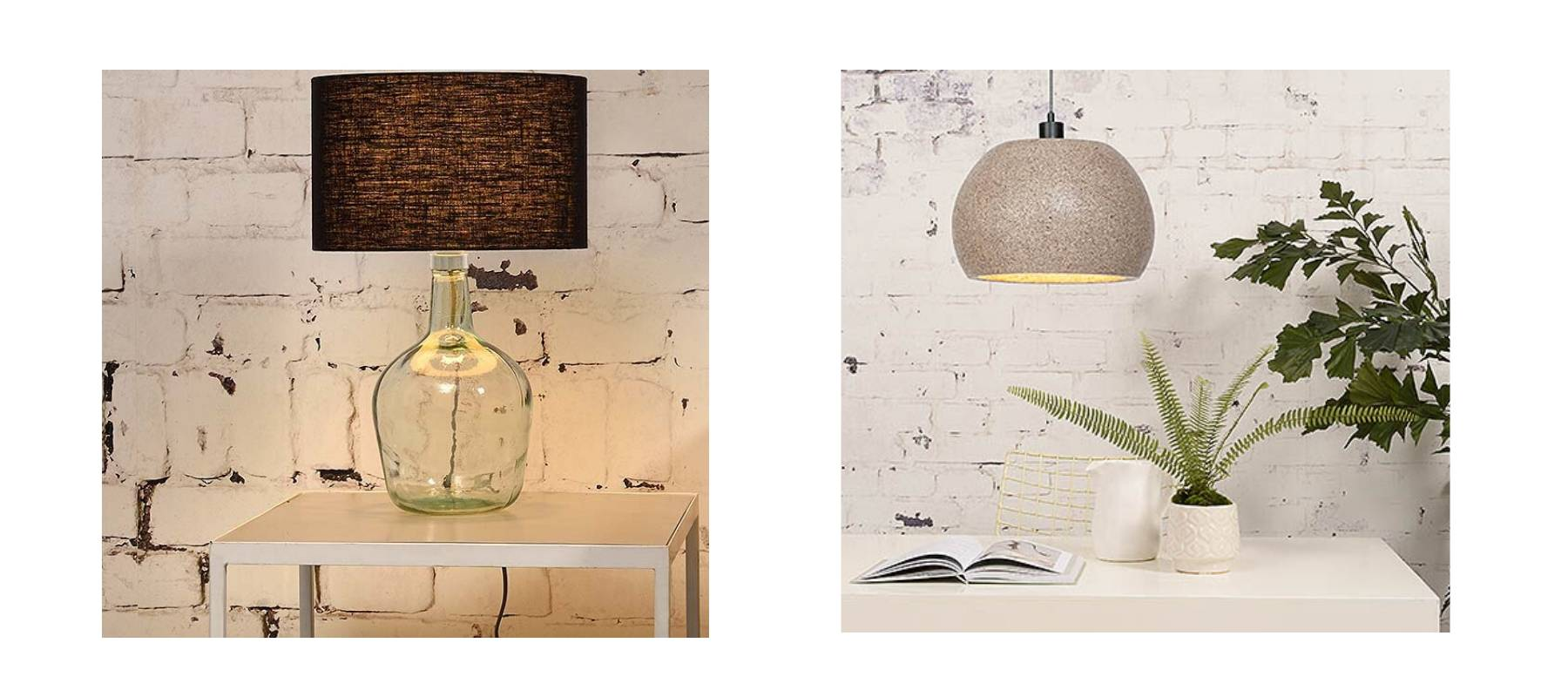 Glass table lamp with dark shade and woodchip hanging lights