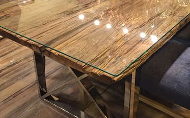 Glass top on reclaimed wood dining table