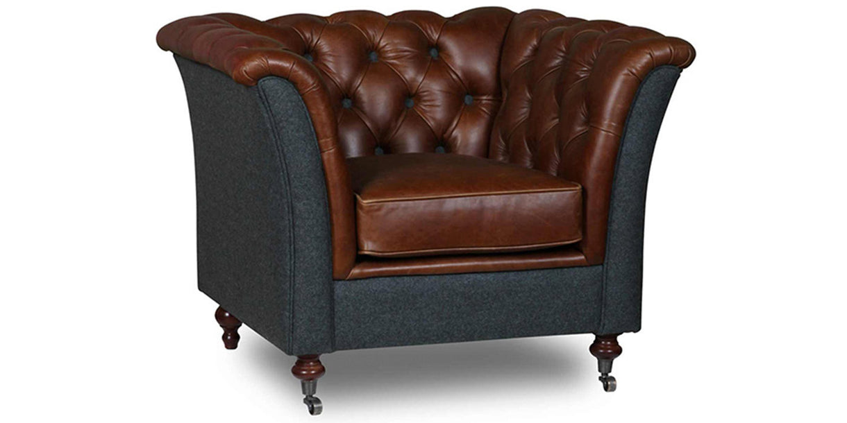 Granby Cerato Brown Leather Aberdeen Sea Wool Chair