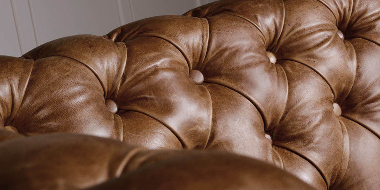 Traditional Chesterfield Armchair in Brown Leather