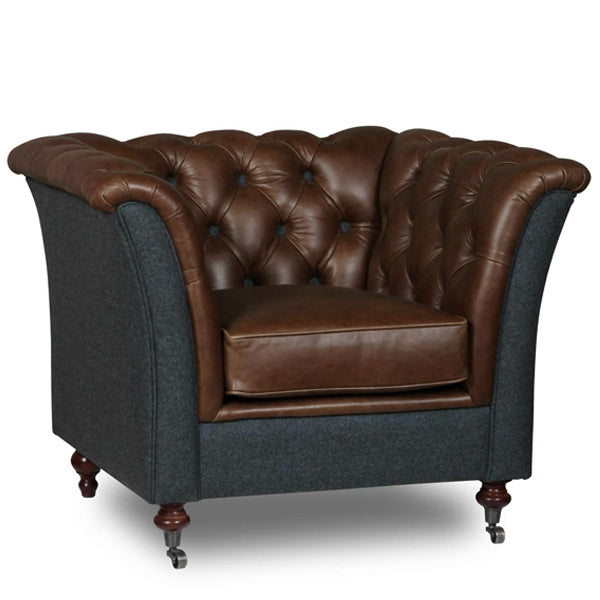 Brown Leather and Wool Armchair