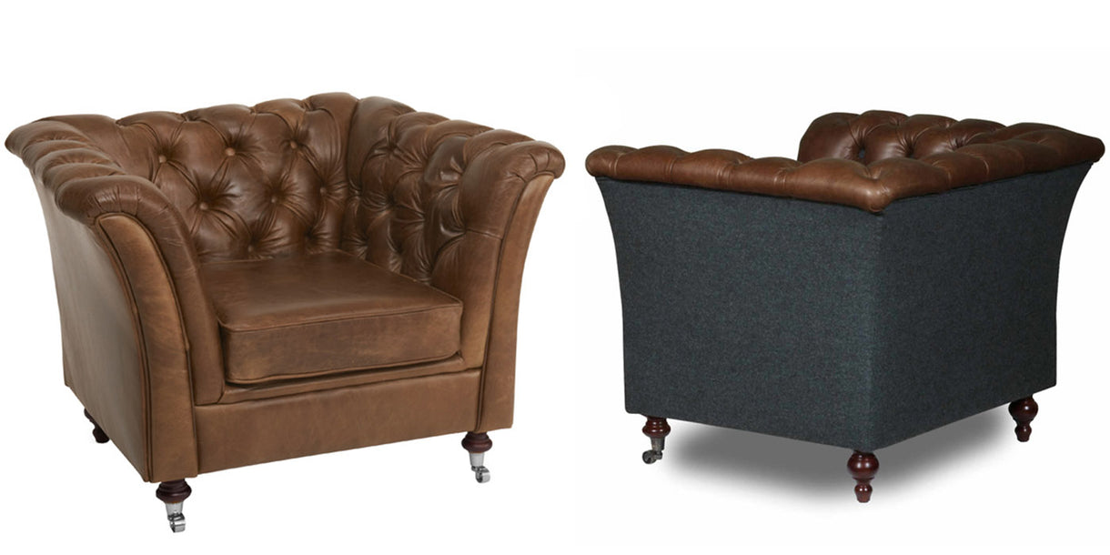 Granby Leather and Wool Armchairs