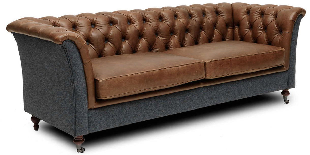 Granby Brown Leather and Wool Sofa