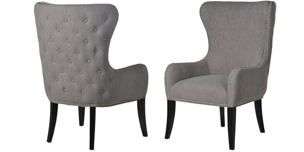 Dame Grey Fabric Armchair