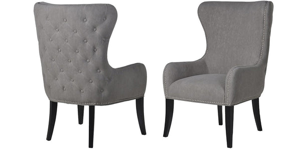 Dame Grey Studded Button Back Chair