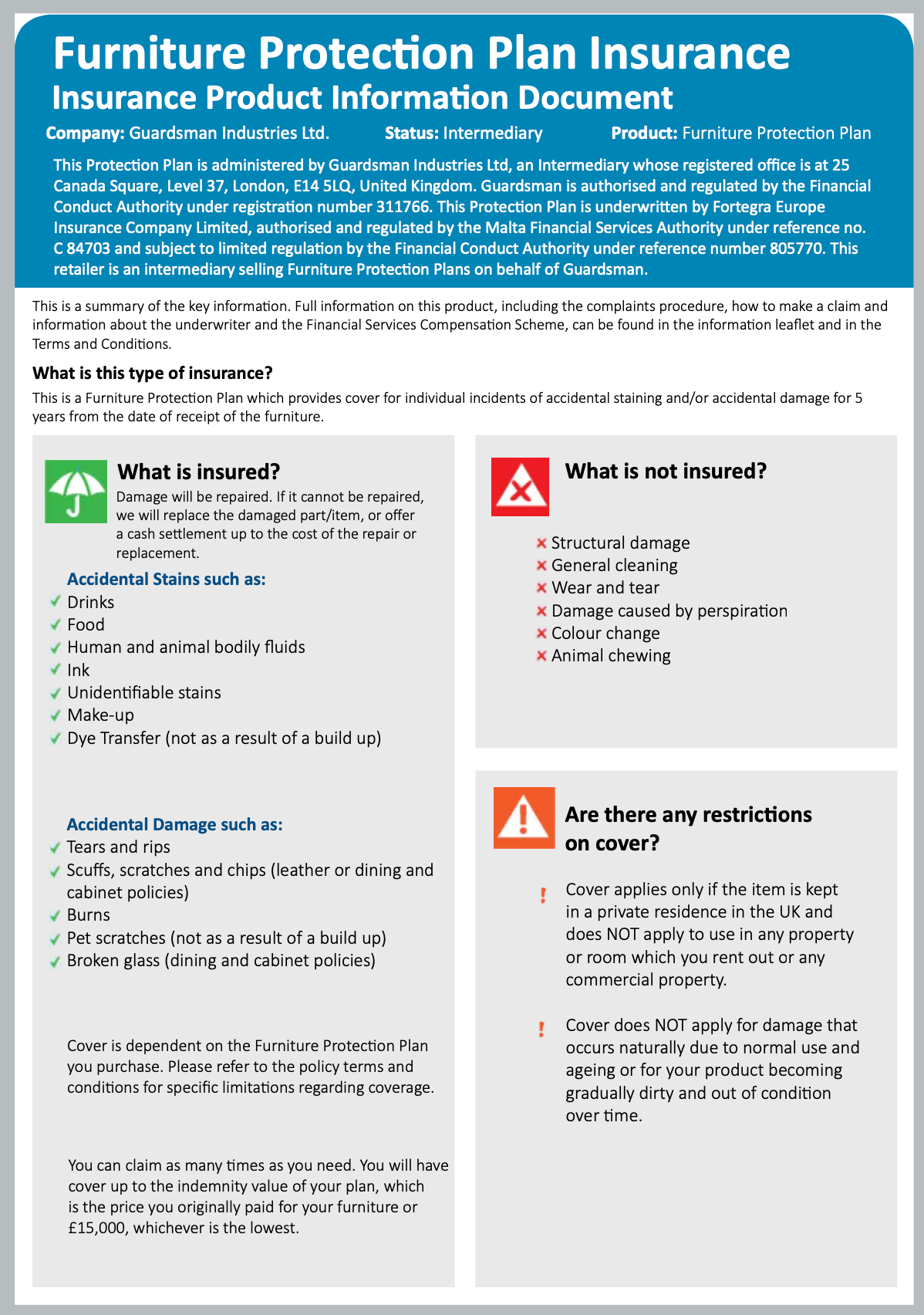 Guardsman Furniture Protection Insurance Product Information Document page 1