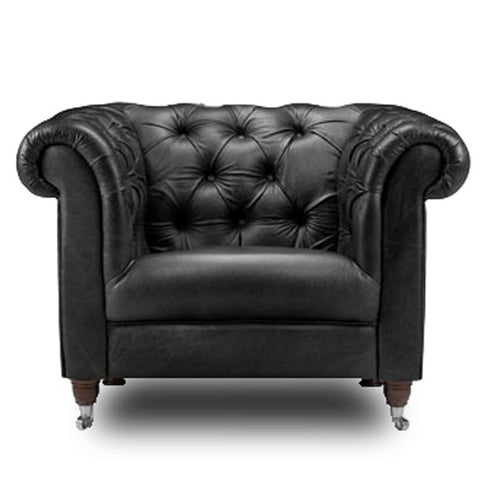 Gunthorpe Cerato Black Leather Chesterfield Armchair