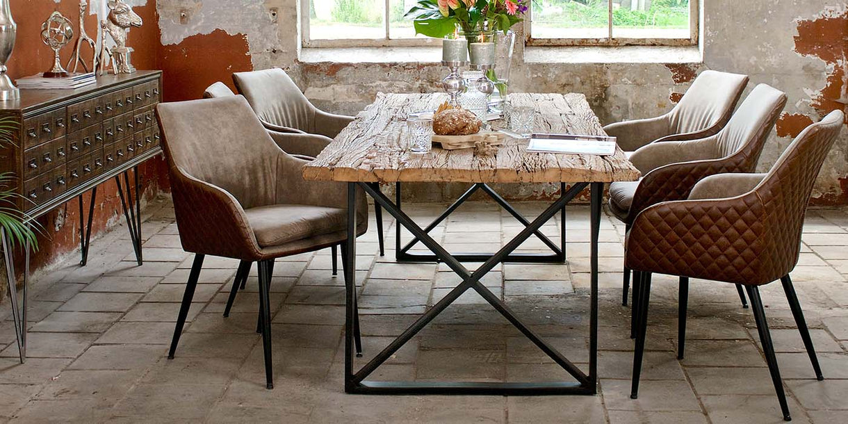 Luxe Kensington Industrial Reclaimed Wood Dining Table and Gustav Chairs