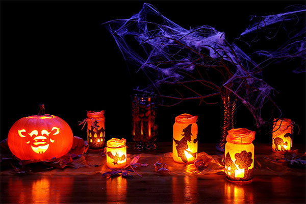 Halloween Decor with Pumpkins and Lanterns