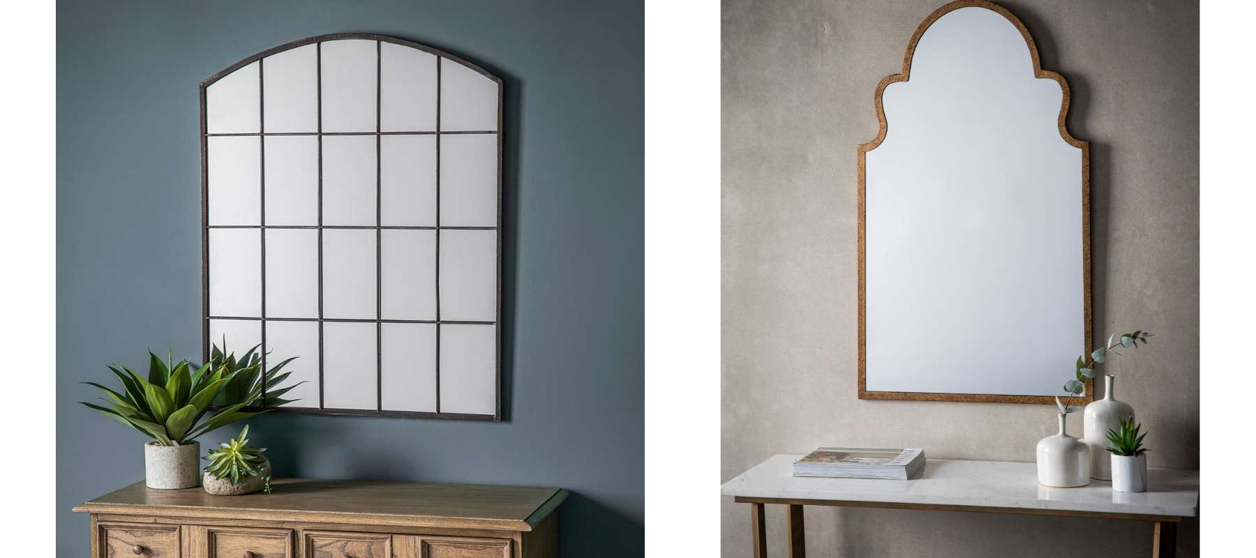 Large wall mirror with square sections and sculpted mirror above console table