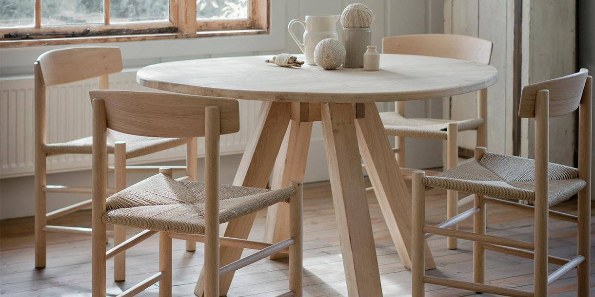 Light Oak and Jute Dining Chairs