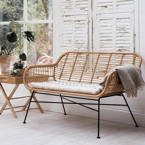 Hampstead Bamboo Bench with Cushion in Room