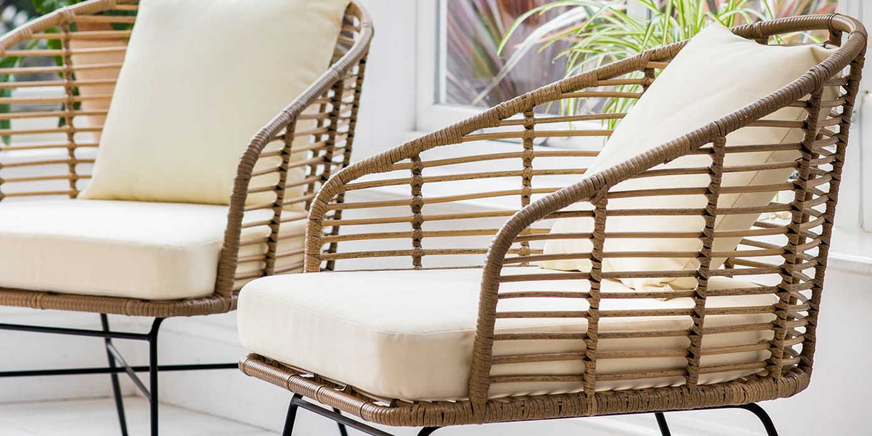 Set of 2 Natural Bamboo Armchairs for Outdoor