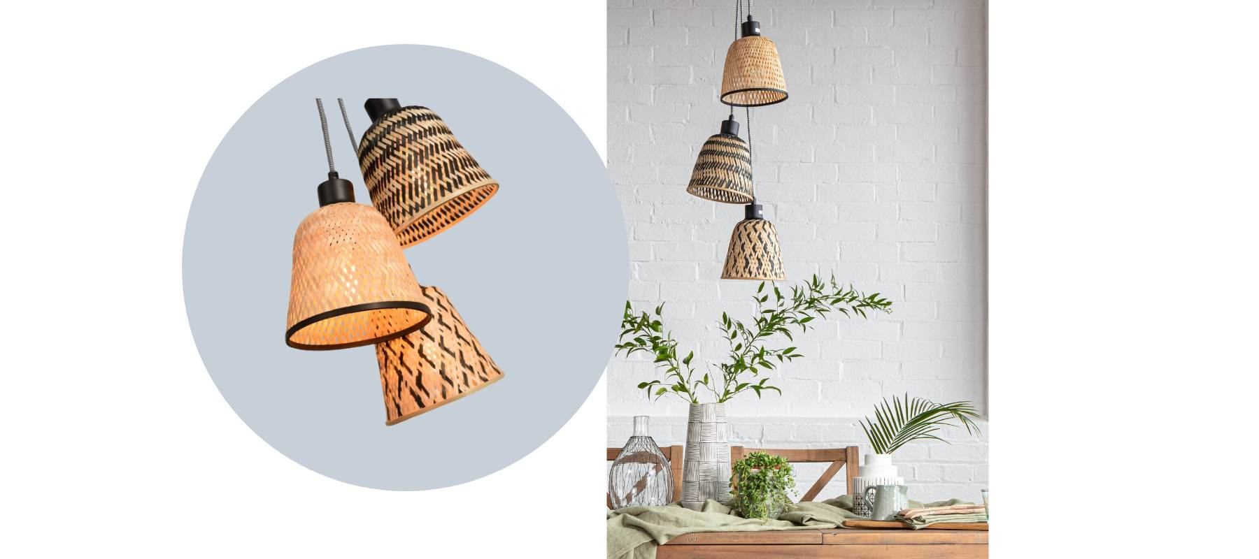 Cluster of rattan pendant ceiling lights
