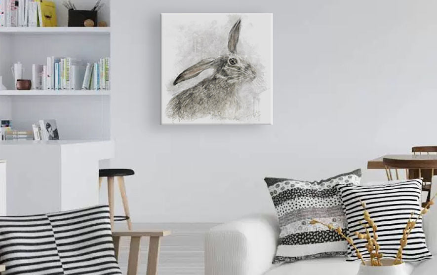 Grey Hare Wall Painting
