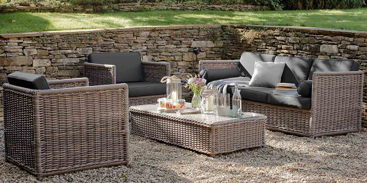 Harting Rattan Garden Sofa Set with Armchairs and Coffee Table in Garden