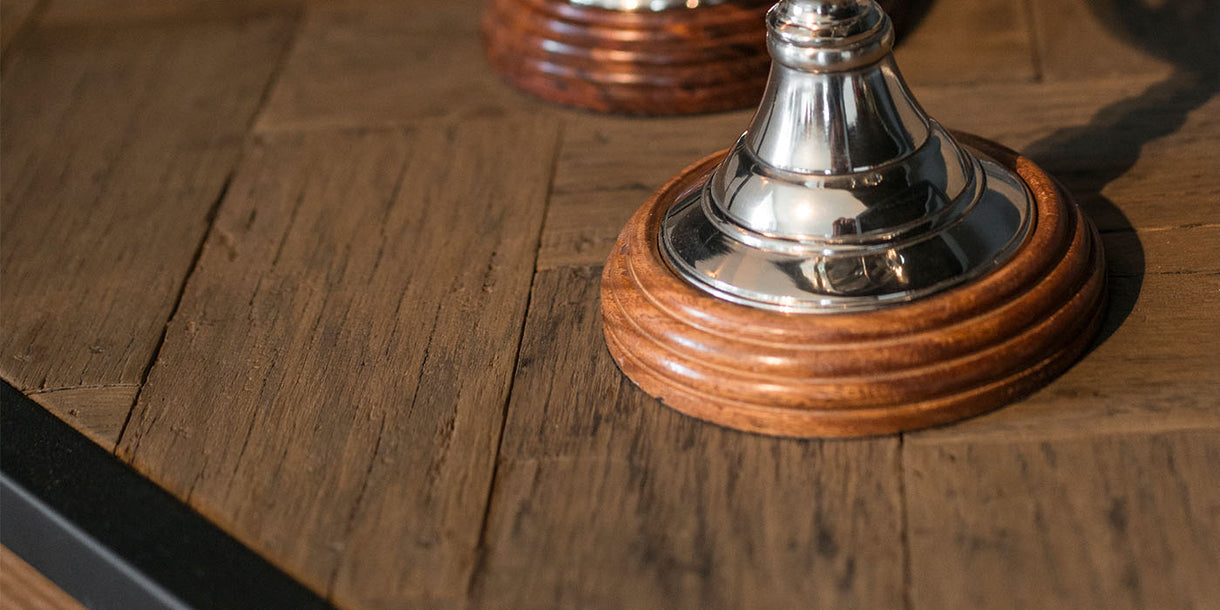 Herringbone Reclaimed Wood Oval Dining Table Top Close up