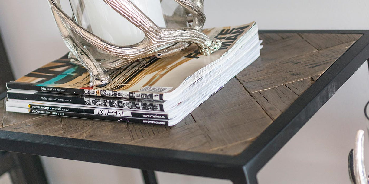 Herringbone Industrial Reclaimed Wood Console Table Shelf