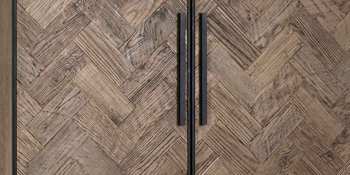 Herringbone Industrial Reclaimed Wood Cabinet Doors