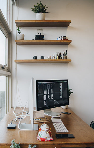 Home Office with Wooden Shelves
