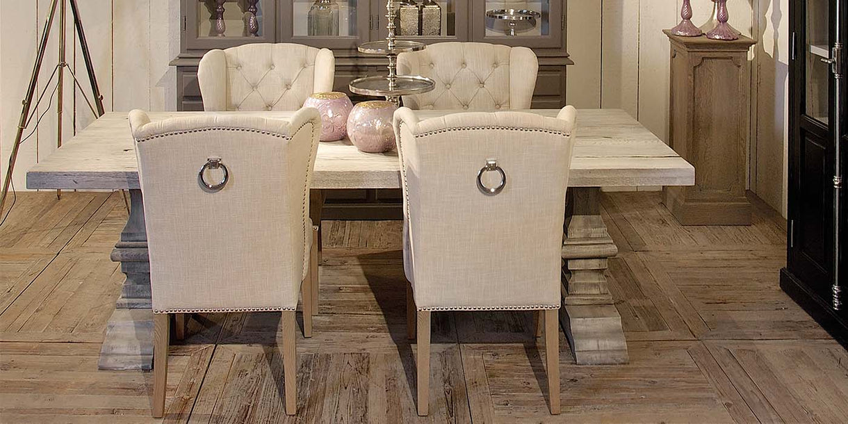 Luxe Daisy Upholstered Dining Chairs in fabric
