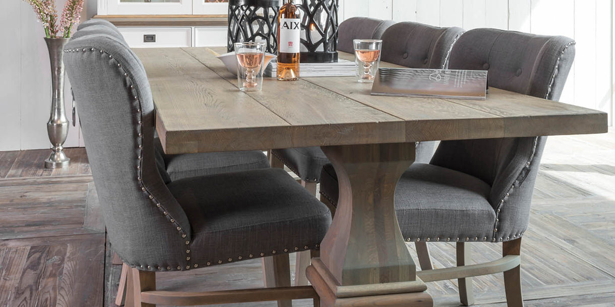 hoxton oak farmhouse dining table and grey chairs