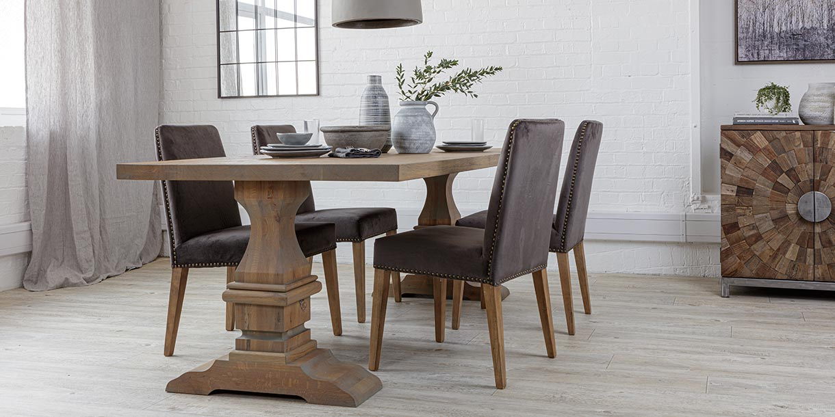 Hoxton Oak Farmhouse Dining Table with Velvet Dining Chairs and Reclaimed Sideboard