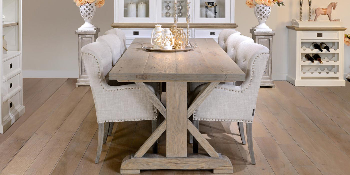 Hoxton Rustic Oak Trestle Dining Table and Linen Chairs