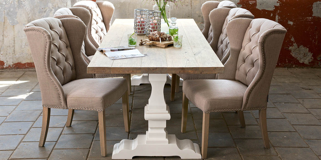 Hoxton Oak White Farmhouse Dining Table top