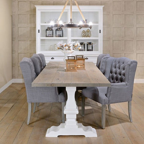 Hoxton Oak White Farmhouse Table in dining room