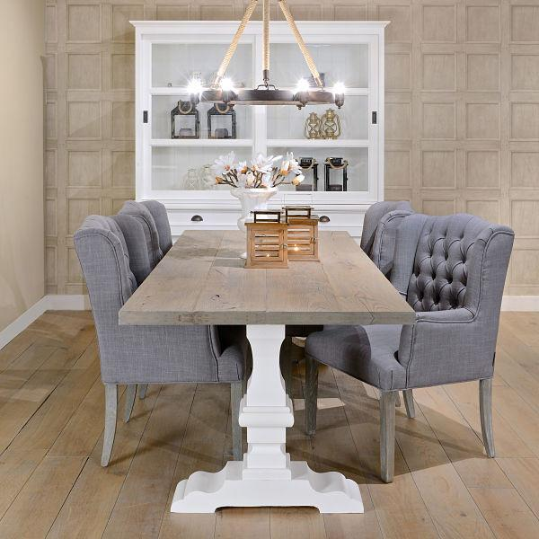 Hoxton Oak White Farmhouse Dining Table