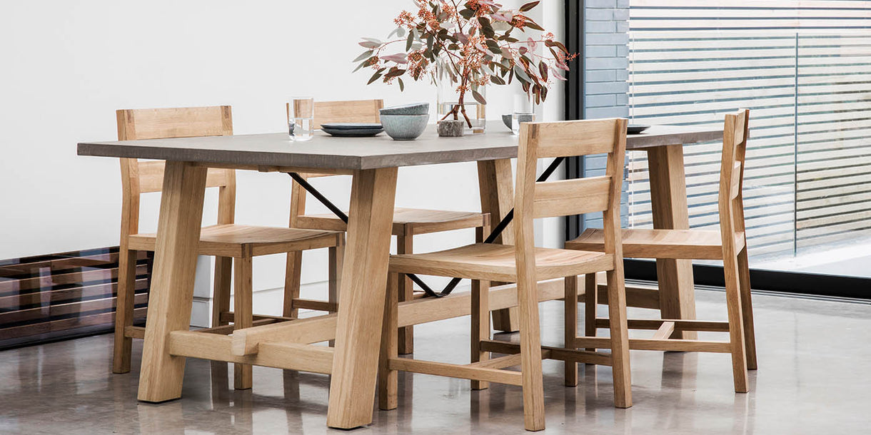 Hudson Living Chilson Oak Trestle Dining Table and Chairs