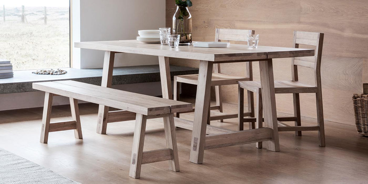 Hudson Living Kielder Oak Dining Table and bench