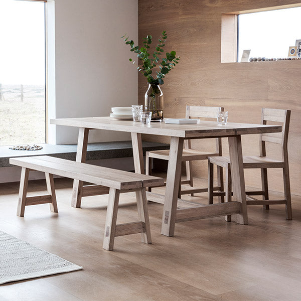 Kielder Oak Dining Table with Oak Chairs and Bench