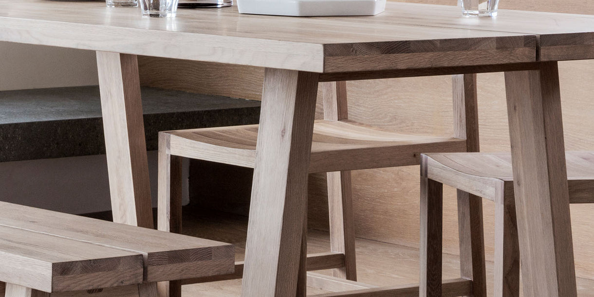 Hudson Living Kielder Oak Dining Table close up