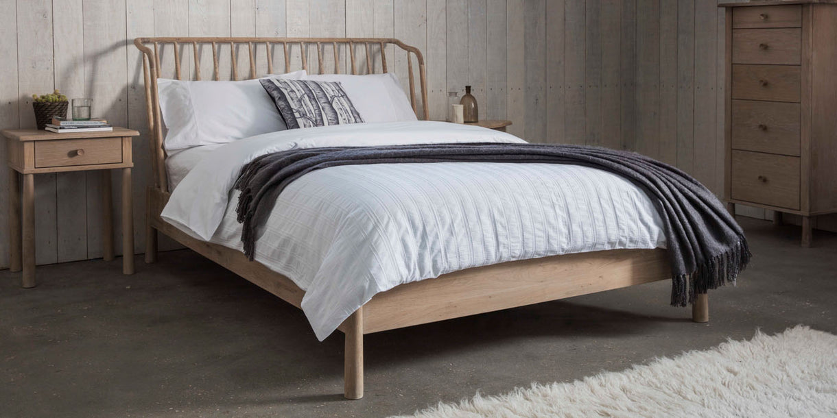 King Size Oak Bed with Curved Spindle Back