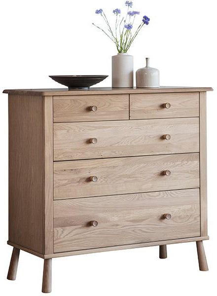 A Scandi style chest of drawers in light oak